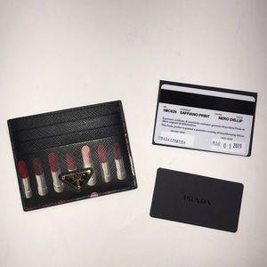 Prada Saffiano lipstick print credit card wallet